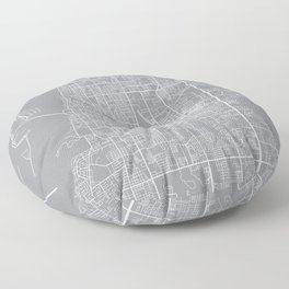 Clearwater Map, Florida USA - Pewter Floor Pillow