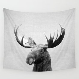 Moose - Black & White Wall Tapestry
