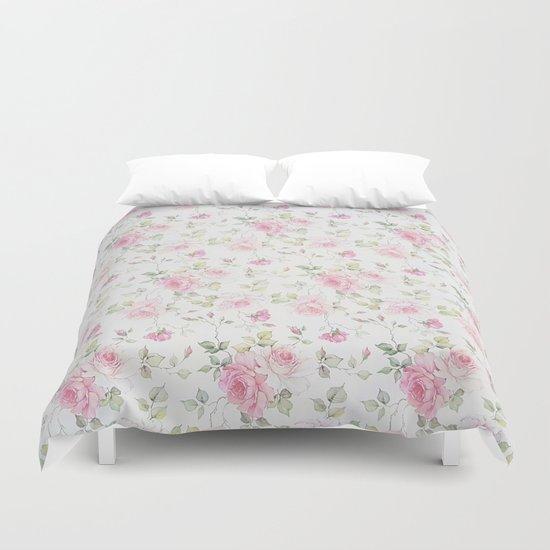 Elegant blush pink white vintage rose floral by pink_water