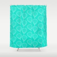 hot air balloons Shower Curtains featuring CUTE HOT AIR BALLOONS by Allyson Johnson