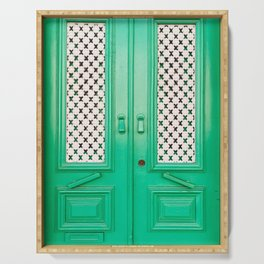 CLOSED GREEN FRENCH DOORS Serving Tray
