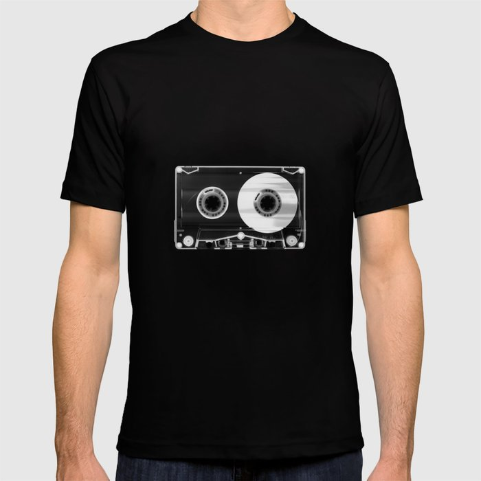 Black and White Retro 80's Cassette Vintage Eighties Technology Art Print Wall Decor from 1980's T-shirt
