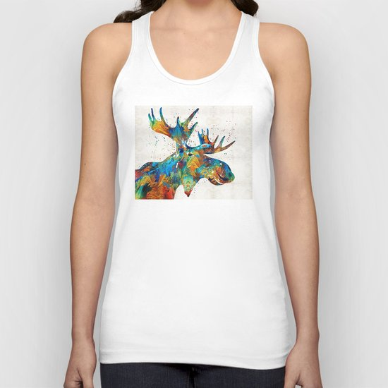 Colorful Moose Art - Confetti - By Sharon Cummings Unisex Tank Top