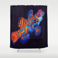 duvet cover Shower Curtains featuring AMAZING CREATURE DUVET COVER by aztosaha