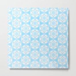 Shiny light blue winter star snowflakes pattern Metal Print