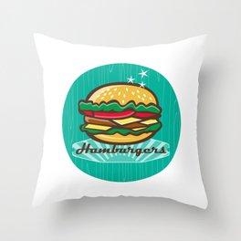 Retro 1950s Diner  Hamburger Circle  Throw Pillow