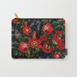 Panther and Floral Pattern XO Carry-All Pouch