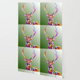 Colorful decoration of deer Wallpaper