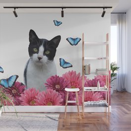 Black and white Cat with Gerbera Flowers Wall Mural