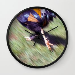Rooster on The Run Wall Clock