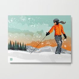 Skier Looking Metal Print