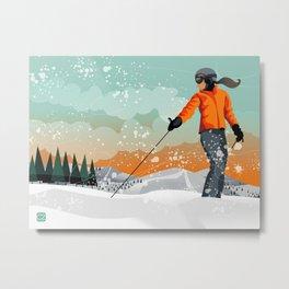 Skier Looking Metal Print