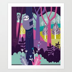Sloth in the woods Art Print