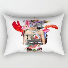 Red Synth Lobster Space Goggle Girl Rectangular Pillow
