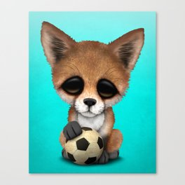 Cute Baby Fox With Football Soccer Ball Canvas Print
