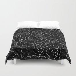 White on Black Crackle Duvet Cover