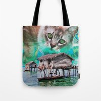 meow Tote Bags featuring Meow by John Turck