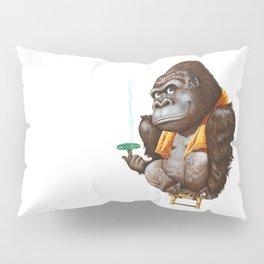 A gorilla relaxing after taking bath Pillow Sham