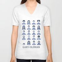 actor V-neck T-shirts featuring Gary Oldman by Derek Eads