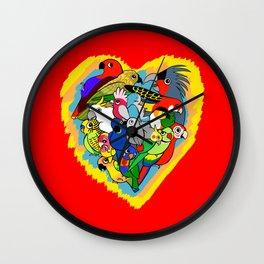 I heart parrots cute cartoon Wall Clock
