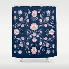 Folk Flowers in Pink and Indigo Shower Curtain
