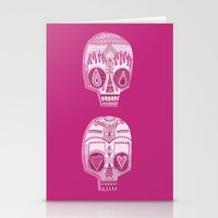 sugar skulls Stationery Cards featuring Sugar Skulls by Diana Dypvik