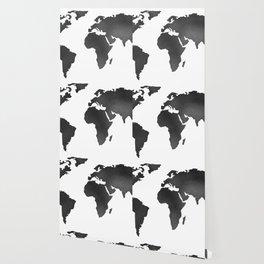 World Map in Textured Black Wallpaper