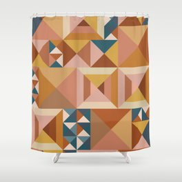 Modern Triangle Quilt Blocks Shower Curtain