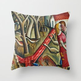 1924 Classical Masterpiece 'The Garden Enclosed' by David Jones Throw Pillow