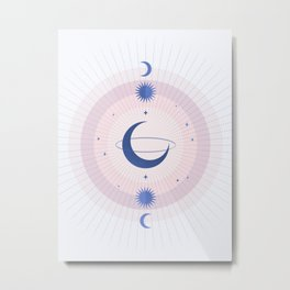 Moon Galaxy Metal Print