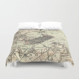 Vintage Map of Portland Maine (1914) Duvet Cover
