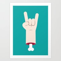 Rock and roll hand Art Print