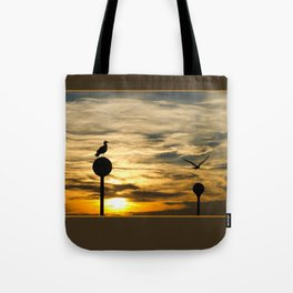 Birds in the sunset Tote Bag