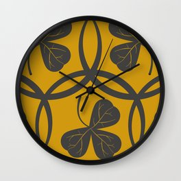 Grey on Yellow Clover Pattern Wall Clock