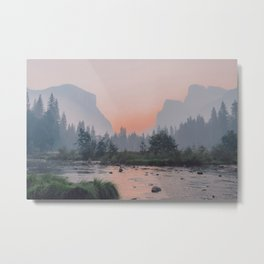 Yosemite Valley Sunrise Pretty Pink Metal Print