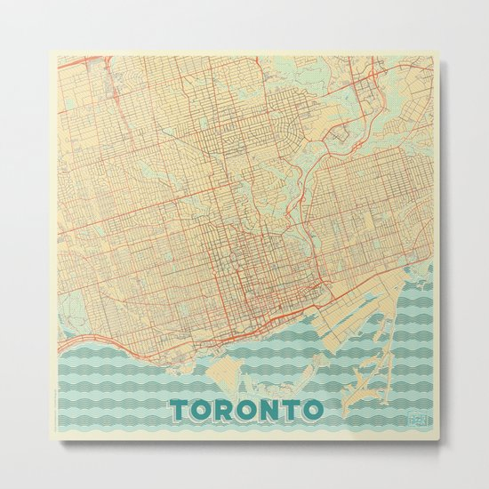 Toronto Map Retro Metal Print
