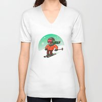 ski V-neck T-shirts featuring Ski by nicosarmiento