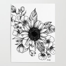 Bouquet of Flowers with Sunflower / Fall floral lineart Poster