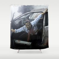 zombie Shower Curtains featuring Zombie by Vito Fabrizio Brugnola
