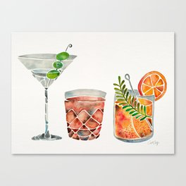Classic Cocktails  – 1960s Watercolor Lineup Canvas Print