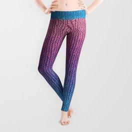 Chunky Knit Pattern in Pink, Blue & Purple Leggings