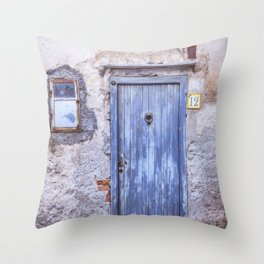 Old Blue Italian Door Throw Pillow