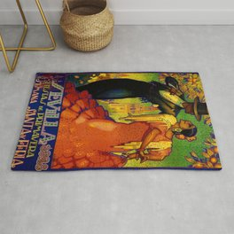 1928 Vintage Seville Spain Travel Poster Rug
