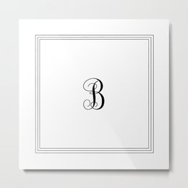 Monogram Letter B in Black with Triple Border Metal Print