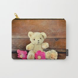 Teddy bear with flowers Carry-All Pouch
