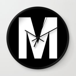 Letter M (White & Black) Wall Clock