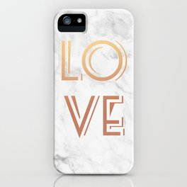 Art Deco Love Rose Gold Marble Tyrpography Print iPhone Case