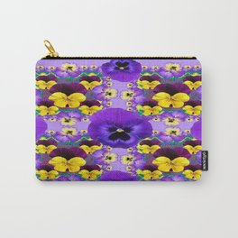 AMETHYST  PURPLE-YELLOW VIOLAS & PANSIES GARDEN ART Carry-All Pouch