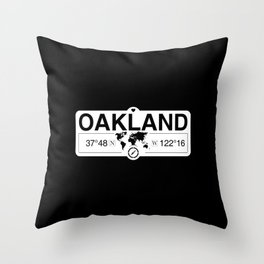 Oakland California Map GPS Coordinates Artwork with Compass Throw Pillow