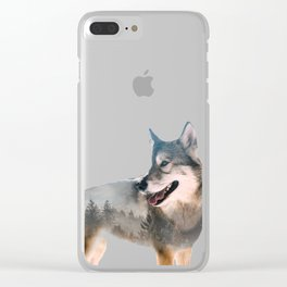 Wolf Double Exposure Clear iPhone Case